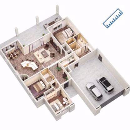 3D Coloured Floorplan measured on-site